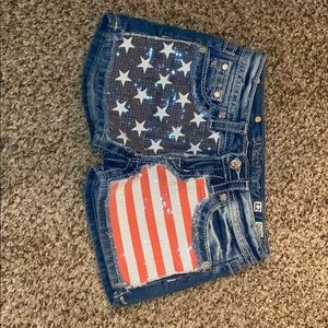 Miss Me American Flag Sequin Jean Shorts